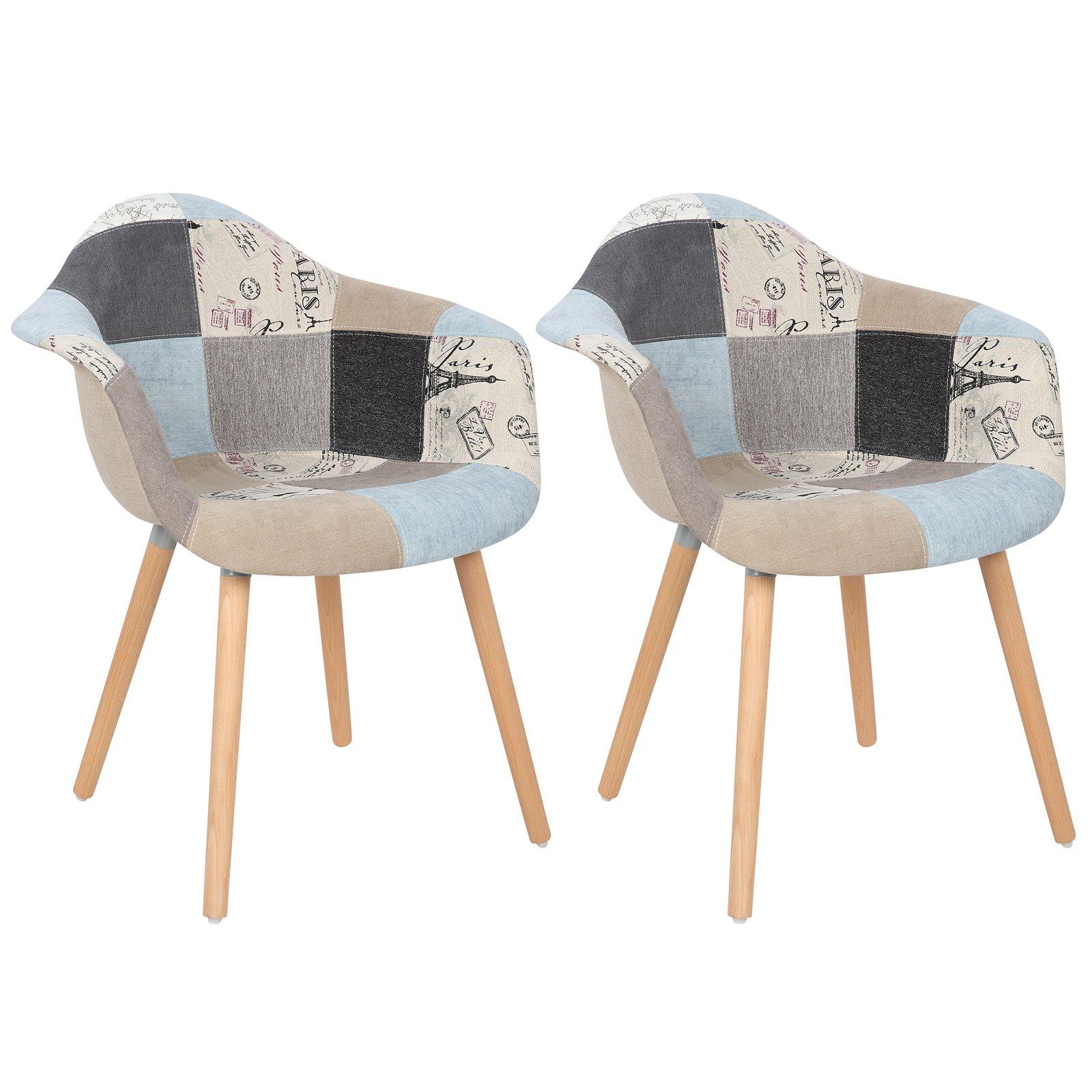 Woltu Silla de Comedor con Respaldo Asiento de Lino Patchwork, Pata Madera Diseño Nórdico para