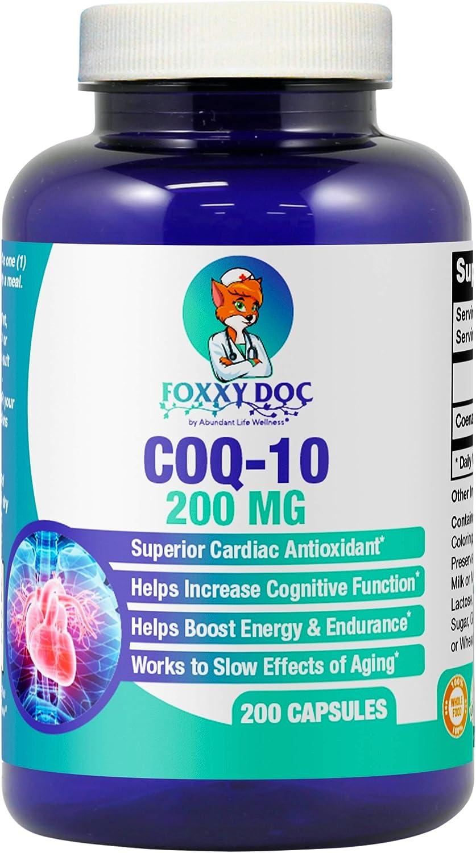 CoQ10 - Co-Enzyme Q10-200 mg - 200 Caps - High Absorption - Veg. Caps - Non-GMO - Ubiquinone - Heart & Cellular Energy by Foxxy Doc