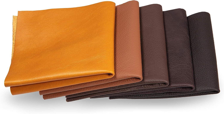 Recortes de cuero - restos de cuero marrón, restos de cuero, tamaños grandes, alta calidad, ideal para bolsos, zapatos, reparaciones, decoraciones, manualidades, 1 kg, tamaño A4