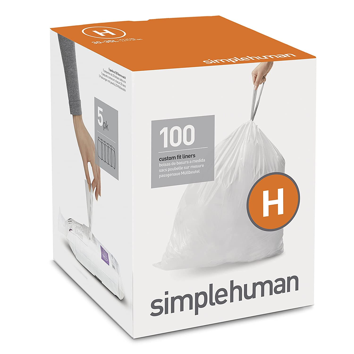 simplehuman Code H Custom Fit Drawstring Trash Bags, 30 - 35 Liter / 8 - 9 Gallon, 100-Count Box