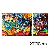 Elegante Obra de Arte de 3 Piezas Pinturas al óleo Sobre Lienzo Arte de la Pared Listo para Colgar para la Sala de Estar Dormitorio Decoración para el hogar (árbol)