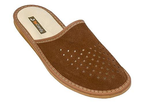 BeComfy Zapatillas de casa para Hombres 100% Cuero genuino punta abierta Kh4yho