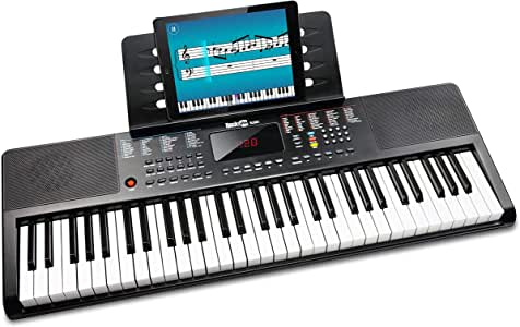RockJam 61 Portable Electronic Keyboard with Key Note Stickers, Power Supply and Simply Piano App Content, Compact (RJ361)