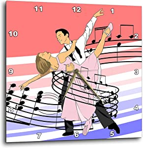 3dRose Macdonald Creative Studios – Dance - Dance Classic Ballroom Dancing of Dance Partners Wrapped in Music - 15x15 Wall Clock (DPP_323207_3)