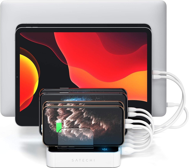 SATECHI Estación de Carga USB 7-Puertos Compatible con iPhone X, 8 Plus, 8, iPad Pro, Air, Mini, Samsung Galaxy S8, Nexus, HTC y más (Blanco): Amazon.es: Electrónica
