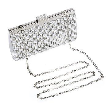 BAIGIO Mujer Cartera de Mano para Fiesta Boda Salidas Bar Mini Size Brillante con Diamantes y Cadenas Bolso, Plateado: Amazon.es: Equipaje