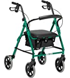 Days Lightweight Folding Four Wheel Rollator Walker with Padded Seat, Lockable Brakes, Ergonomic Handles, and Carry Bag, Limited Mobility Aid, Racing Green, Small, (Eligible for VAT relief in the UK)