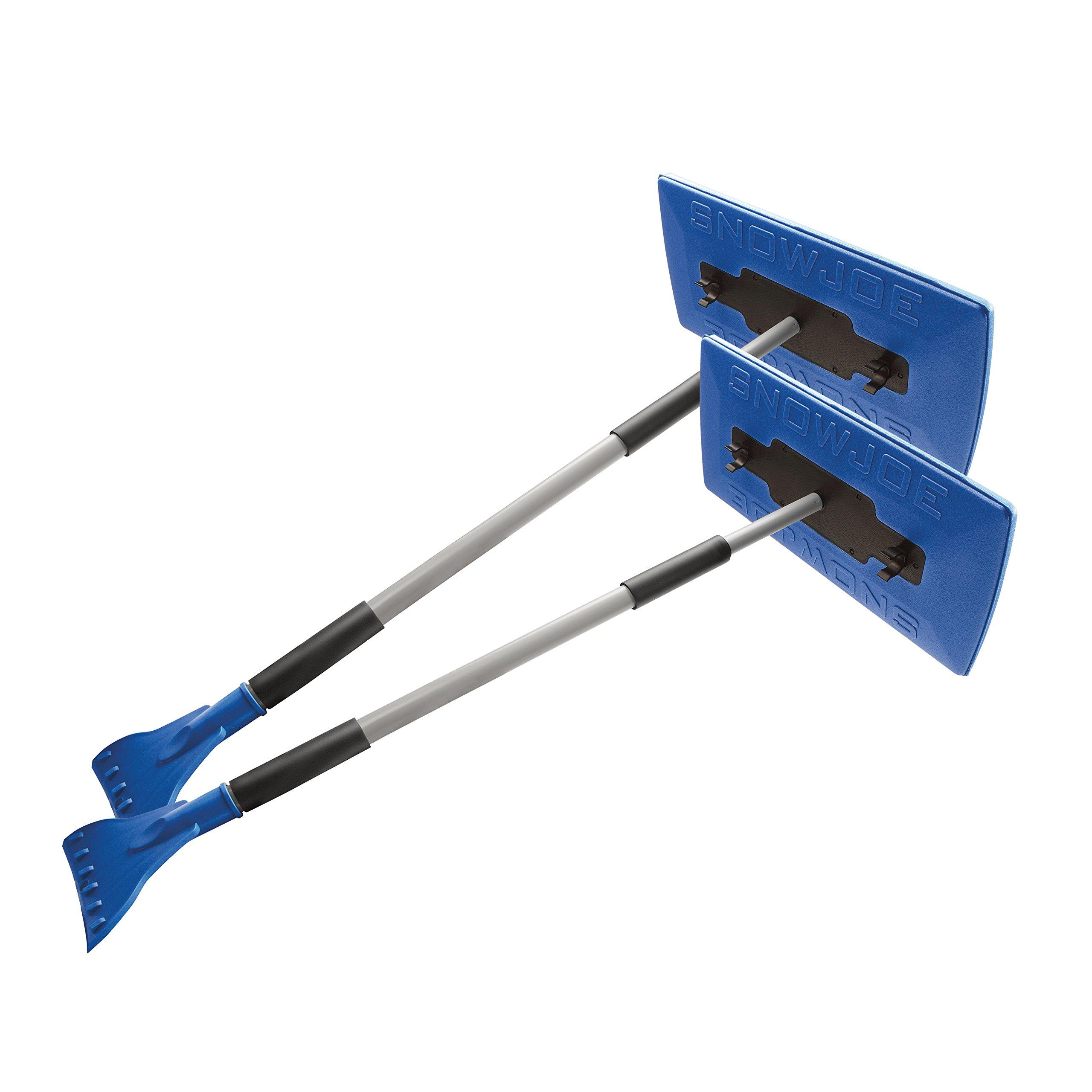 Snow Joe SJBLZD-JMB2-SJB 2-Pack Jumbo Telescoping Snow Broom + Ice Scraper, Blue/Blue
