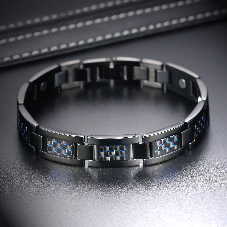 XHao Bracelet /él/égant pour Homme en Titane et Acier Inoxydable avec 4 Types d/él/éments magn/étiques pour la sant/é Bracelet pour Homme Noir