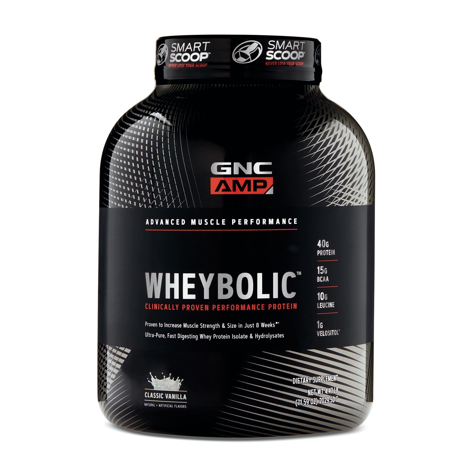 GNC AMP Wheybolic Whey Protein Powder, Classic Vanilla, 33 Servings, Contains 40 Protein, 15g BCAA, and 10g Leucine Per Serving
