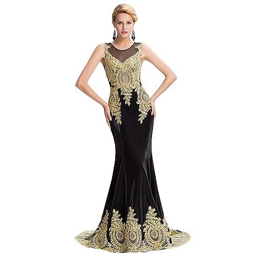 GRACE KARIN Vestido Largo de Noche Para Mujeres Encajes Florales Sirena Noche Evento Ajustado Elegante 00026