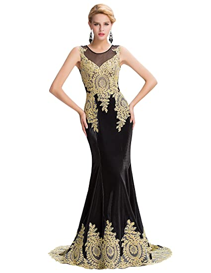 Women Fashion Sleeveless Long Mermaid Evening Dresses Floor Length For Formal Party Black Size 4