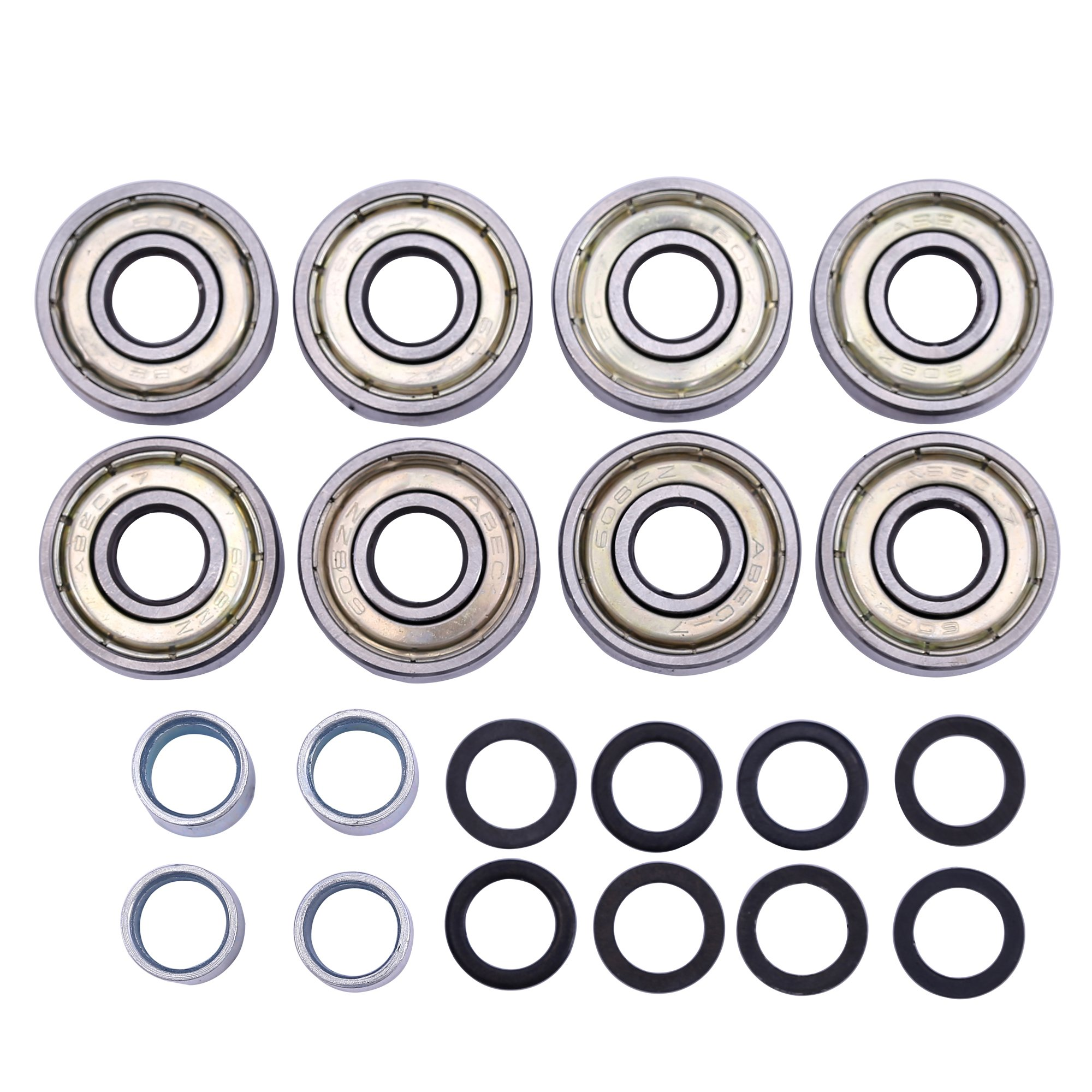 Adventure World 608ZZ ABEC-7 Skate Wheel Bearings, Spacers and Washers Kit (Skateboard and Inline Skate) (4 Wheel Pack (8 bearings, 8 washers, 4 spacers))