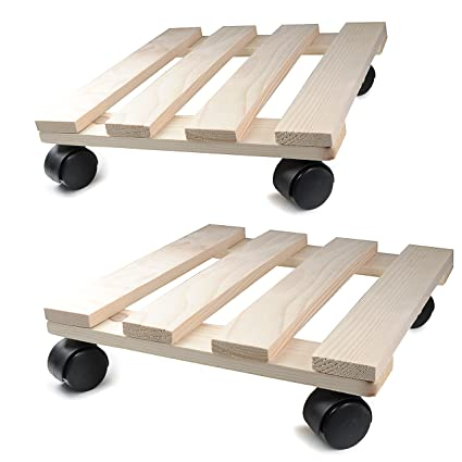 Planta Roller de madera, 2 unidades, 30 cm x 30 cm rectangular con ruedas
