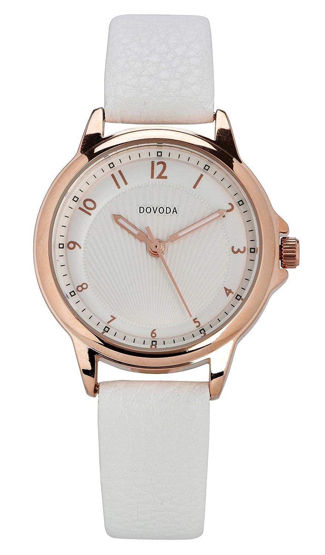 Dovoda Reloj para mujer de cuarzo, moderna correa de piel color negro: Amazon.es: Relojes