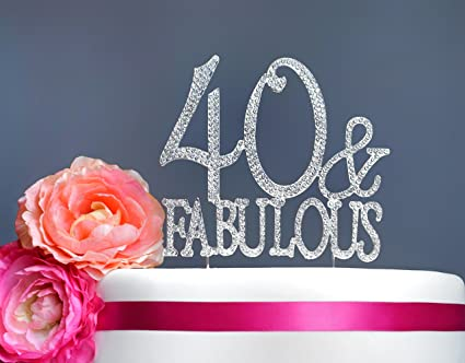 40 and Fabulous Cake Topper | Premium Sparkly Crystal Rhinestones | 40th Birthday Party Decoration Ideas & Amazon.com: 40 and Fabulous Cake Topper | Premium Sparkly Crystal ...