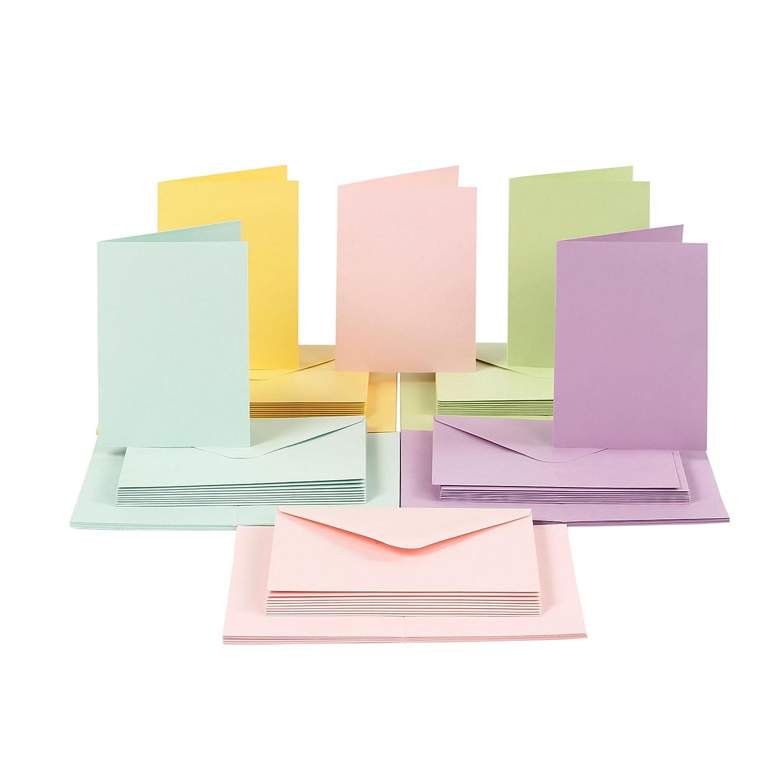 100 Pezzi Card Making Set di Biglietti e Buste DIN A6 Pastello