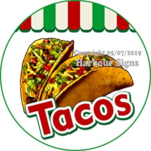 Harbour Signs Tacos Decal Concession Restaurant Food Truck Exterior Circle Vinyl Sticker (24