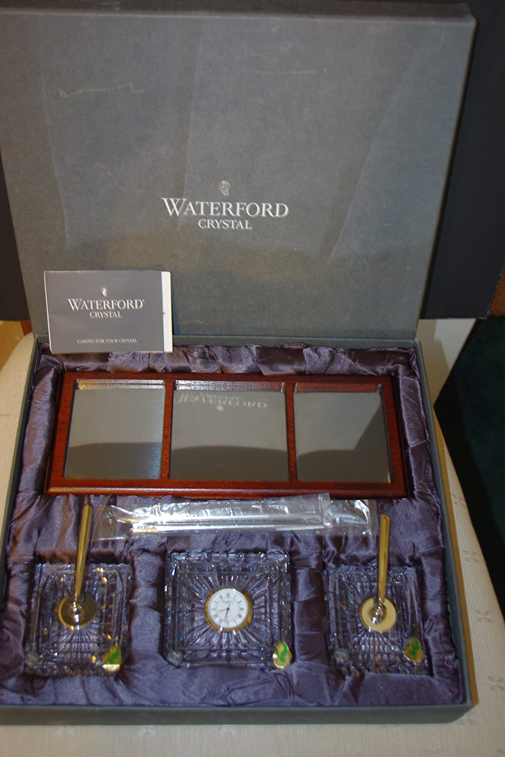 Amazon.com : Waterford Crystal Executive Desk Set Clock Pens ...