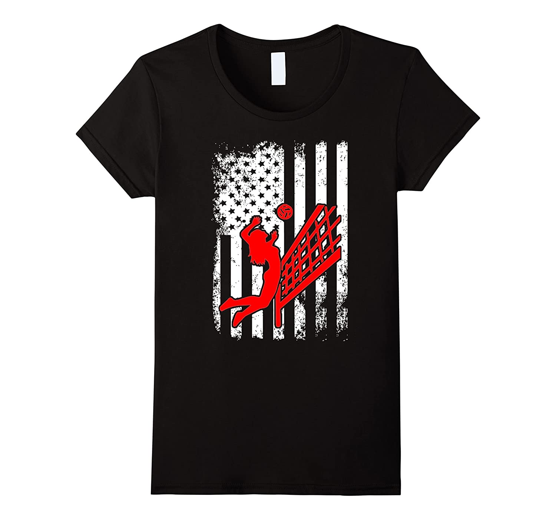 Beach Volleyball USA Flag Pride T Shirt