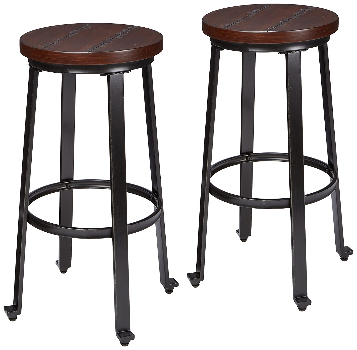 Ashley Furniture Signature Design   Challiman Bar Stool   Pub Height   Set  Of 2   Rustic Brown
