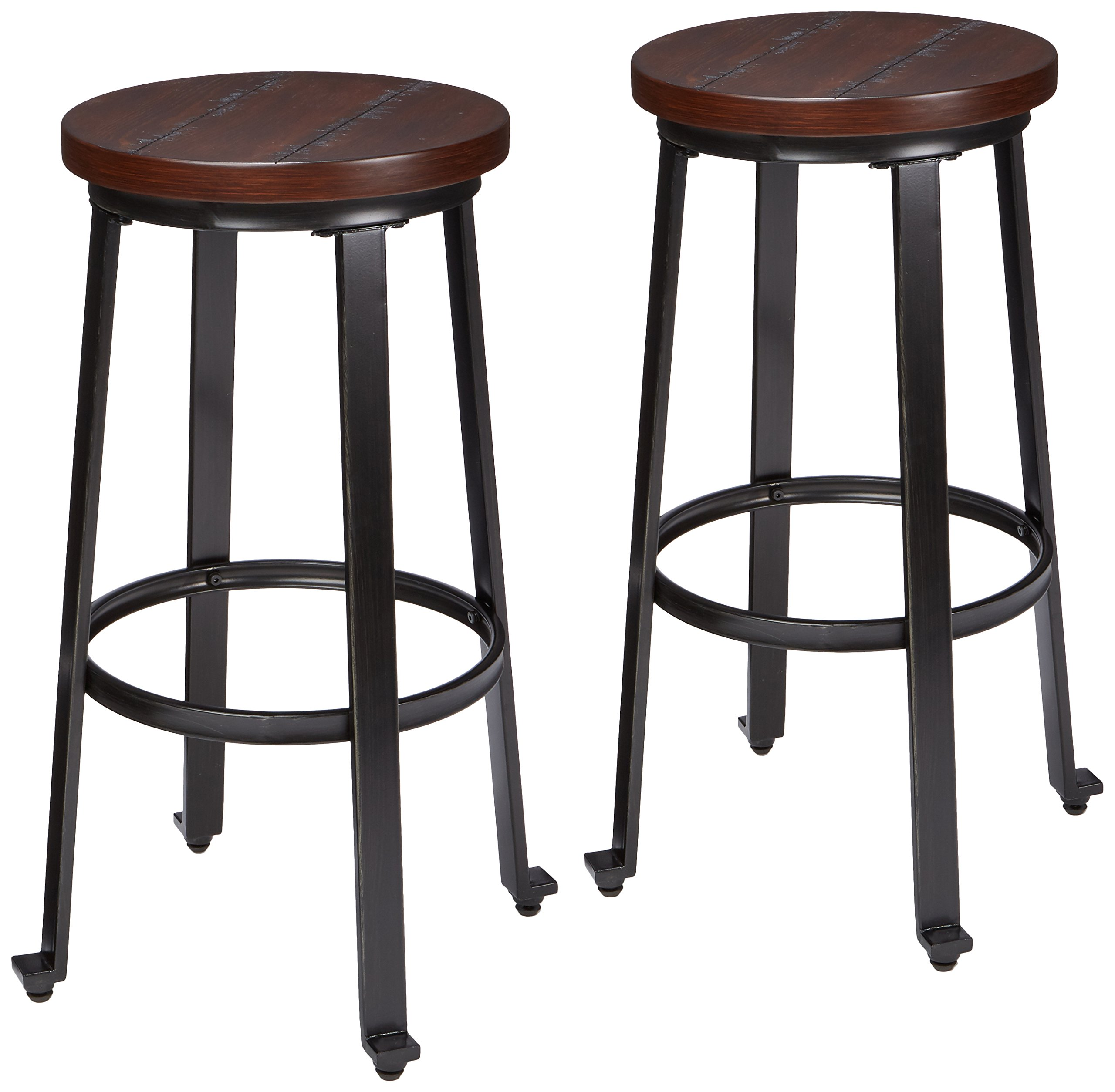 Ashley Furniture Signature Design - Challiman Bar Stool - Pub Height - Set of 2 - Rustic Brown by Signature Design by Ashley