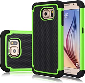 Galaxy S6 Case, Samsung S6 Cover, Jeylly Shock Absorbing Hard Plastic Outer + Rubber Silicone Inner Scratch Defender Bumper Rugged Hard Case Cover for Samsung Galaxy S6 G920 - Green
