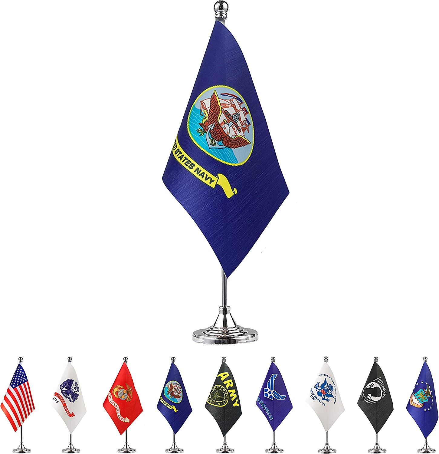TSMD US Navy Desk Flag Small Mini United States Military Table Flags with Stand Base,Decorations Supplies for Army Party Events Celebration