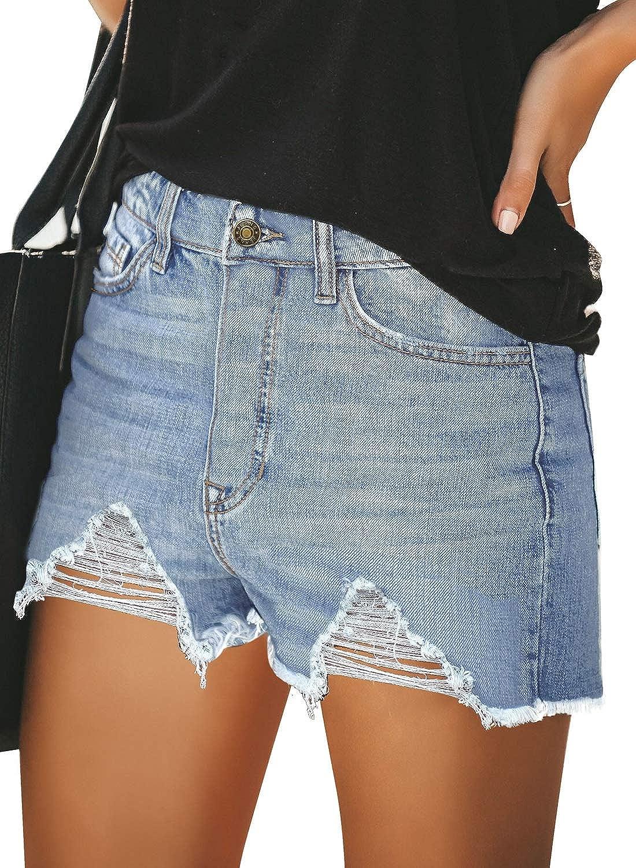GRAPENT Womens Ripped Mid Rise Shorts Frayed Raw Hem Pockets Denim Jeans Shorts