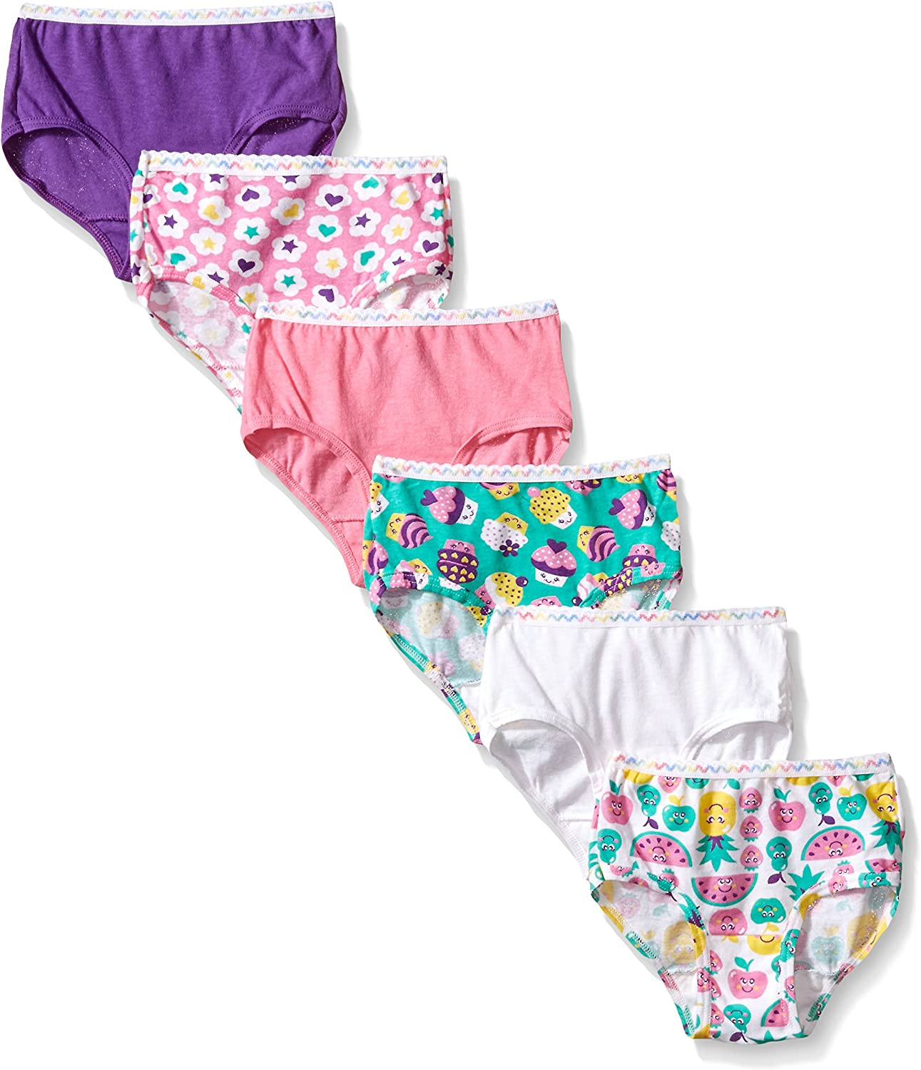 Fruit of the Loom Toddler Girls 6-Pair Hipsters Multi-Color Underwear Size 2T//3T