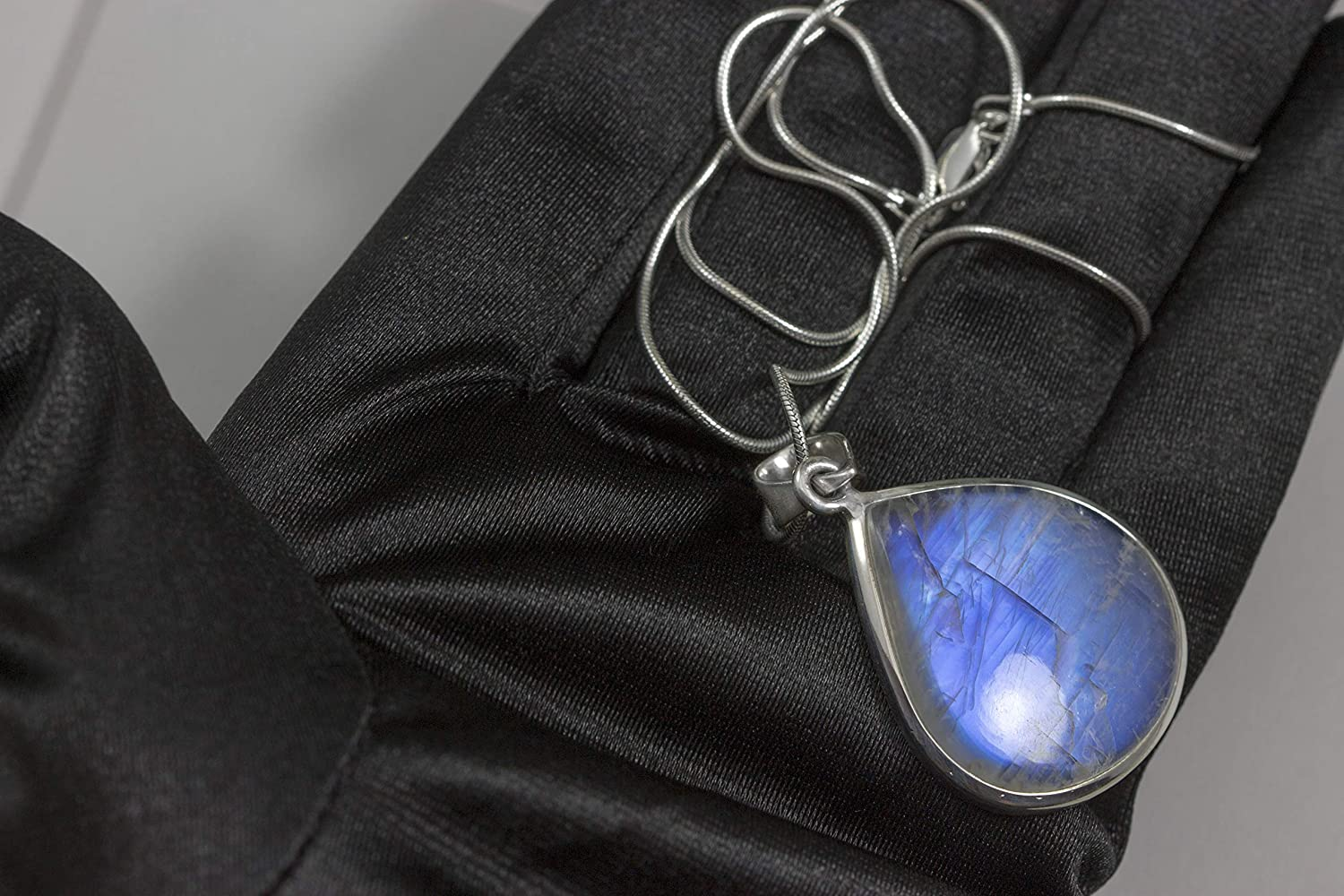 Spyglass Designs Sterling Silver Rainbow Moonstone Necklace Pendant Smooth Teardrop Bezel Set 20 Inch Snake Chain