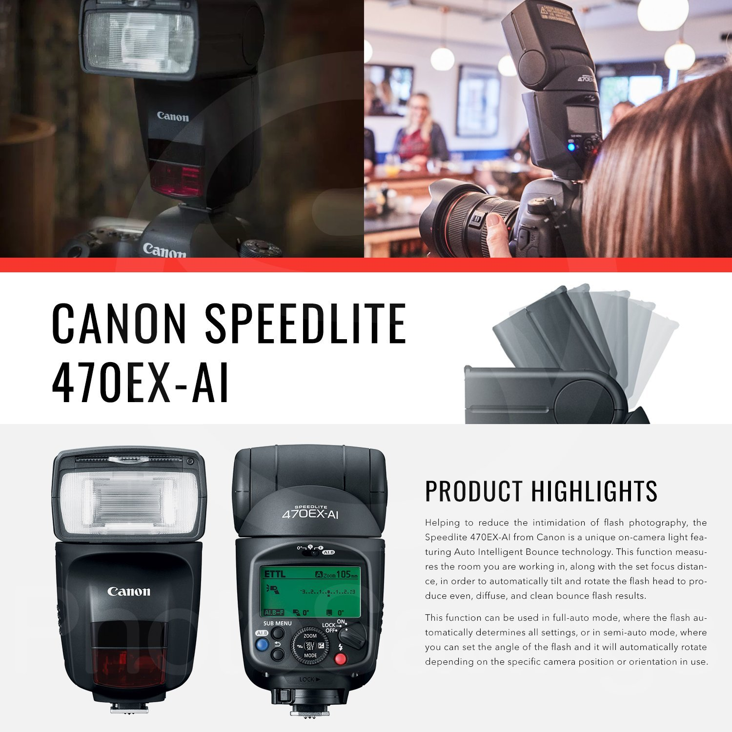 Canon Speedlite 470EX-AI Flash with Diffuser, Batteries & Charger Kit, Xpix Cleaning Accessories, and Basic Photo Bundle by Canon (Image #2)