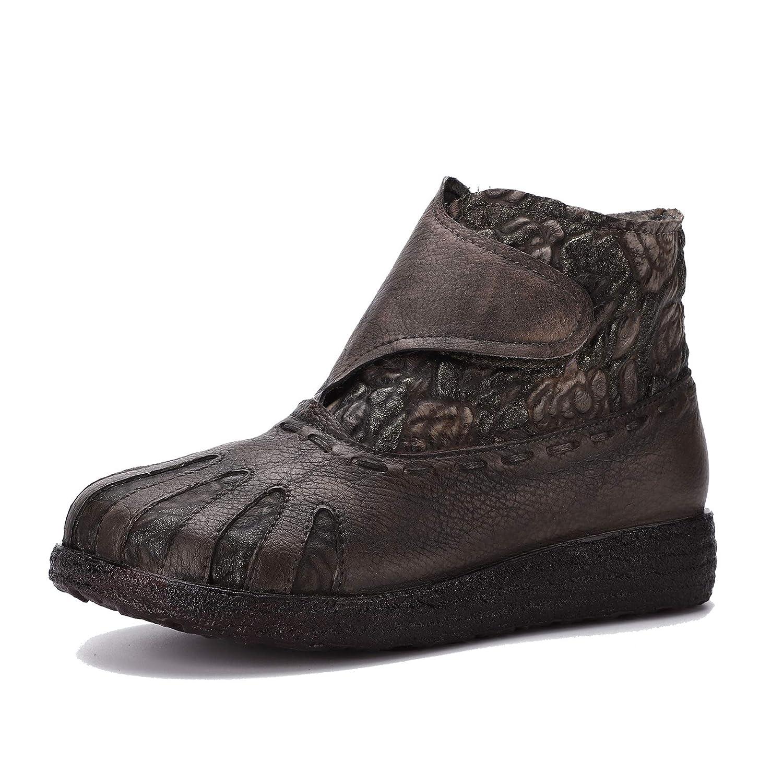 Go to Past Damen Damen Damen Vintage Ethnische Echtem Leder Stiefeletten Weiche Sohle und Bequeme Klettstiefel Handgemachte Schuhe des Herbstes und des Winters 613692