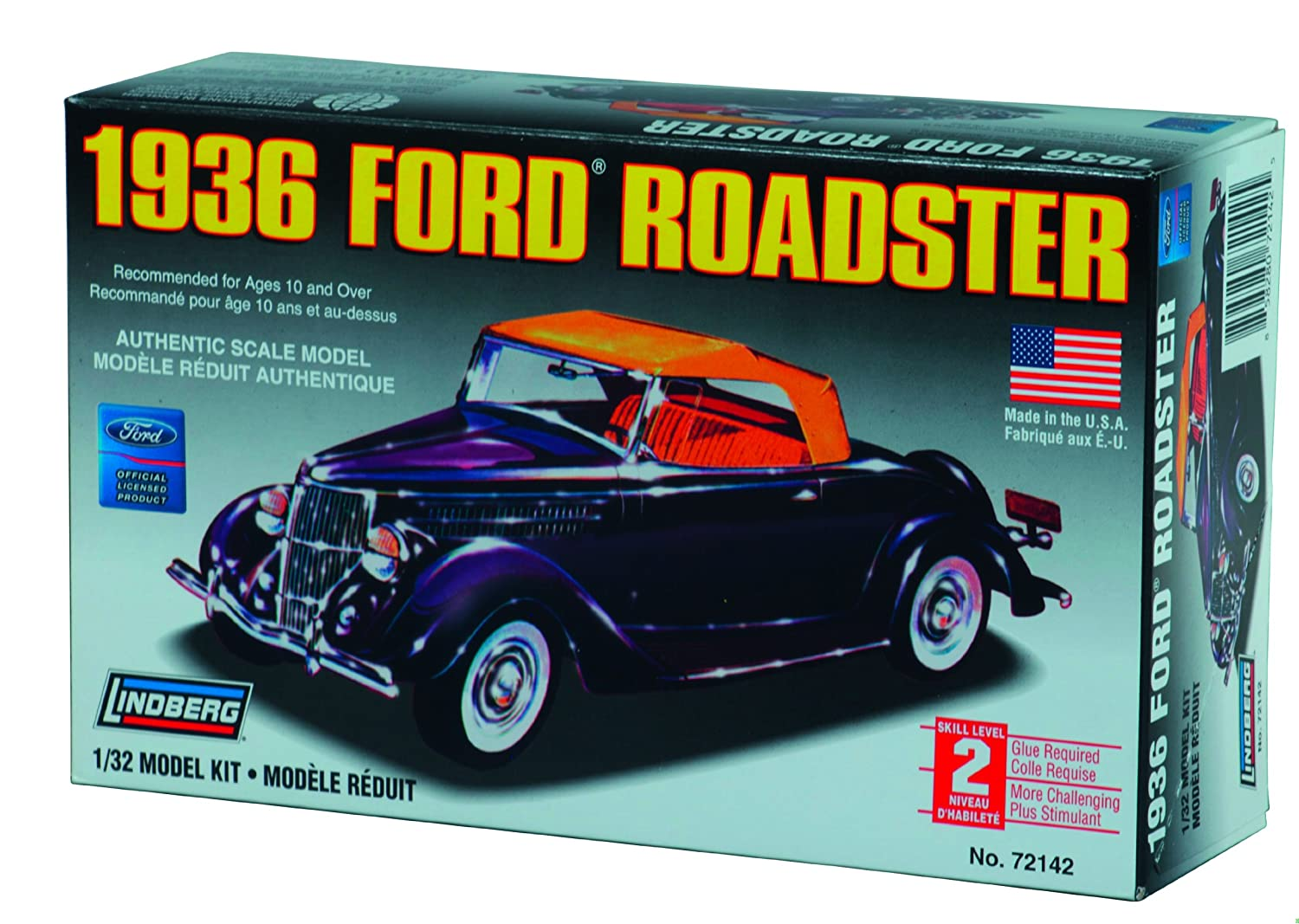 Amazon.com: Lindberg 1936 Ford Roadster 1/32 Scale Plastic Model Car ...