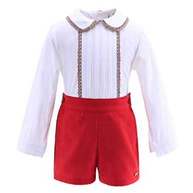f67793a9a Lajinirr Autumn Boy Red Clothing Set Clothing Christmas Outfit White Shirt  + Red Shorts Suits, Red, 7-8 Years: Amazon.co.uk: Clothing