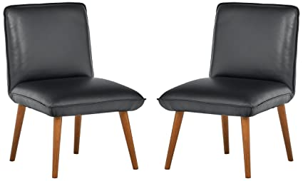 Incredible Rivet Wide Cushion Mid Century Modern Top Grain Leather Set Of 2 Accent Dining Room Kitchen Chairs 26 8W Black Bralicious Painted Fabric Chair Ideas Braliciousco