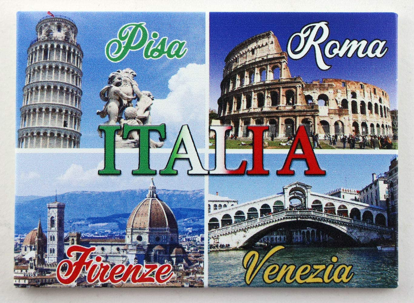 "World By Shotglass Italy Cities Collage Fridge Collector's Souvenir Magnet 2.5"" x 3.5"""
