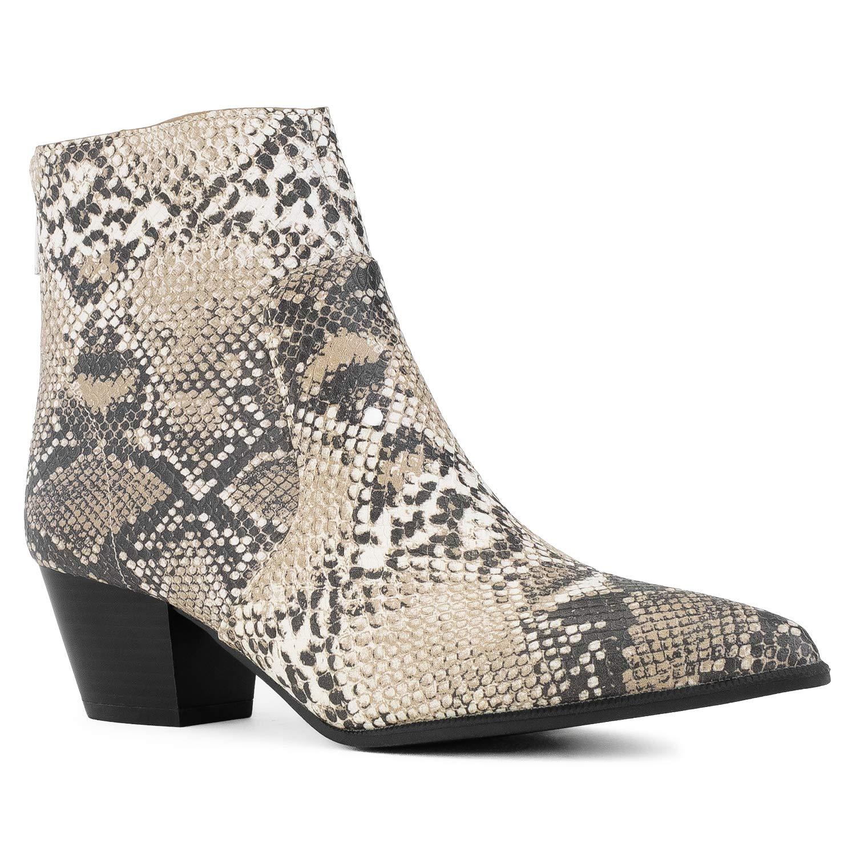 Beige Snake Pu RF ROOM OF FASHION Women's Western Pointy Toe Low Chunky Heel Back Zip Slim Fit Ankle Booties