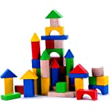 Classic Wooden Building Block Set - 50 Pieces - for Toddlers Preschool Age - Hardwood Plain & Colored Small Wood Blocks for Boys & Girls - Basic Educational Build & Play Toy