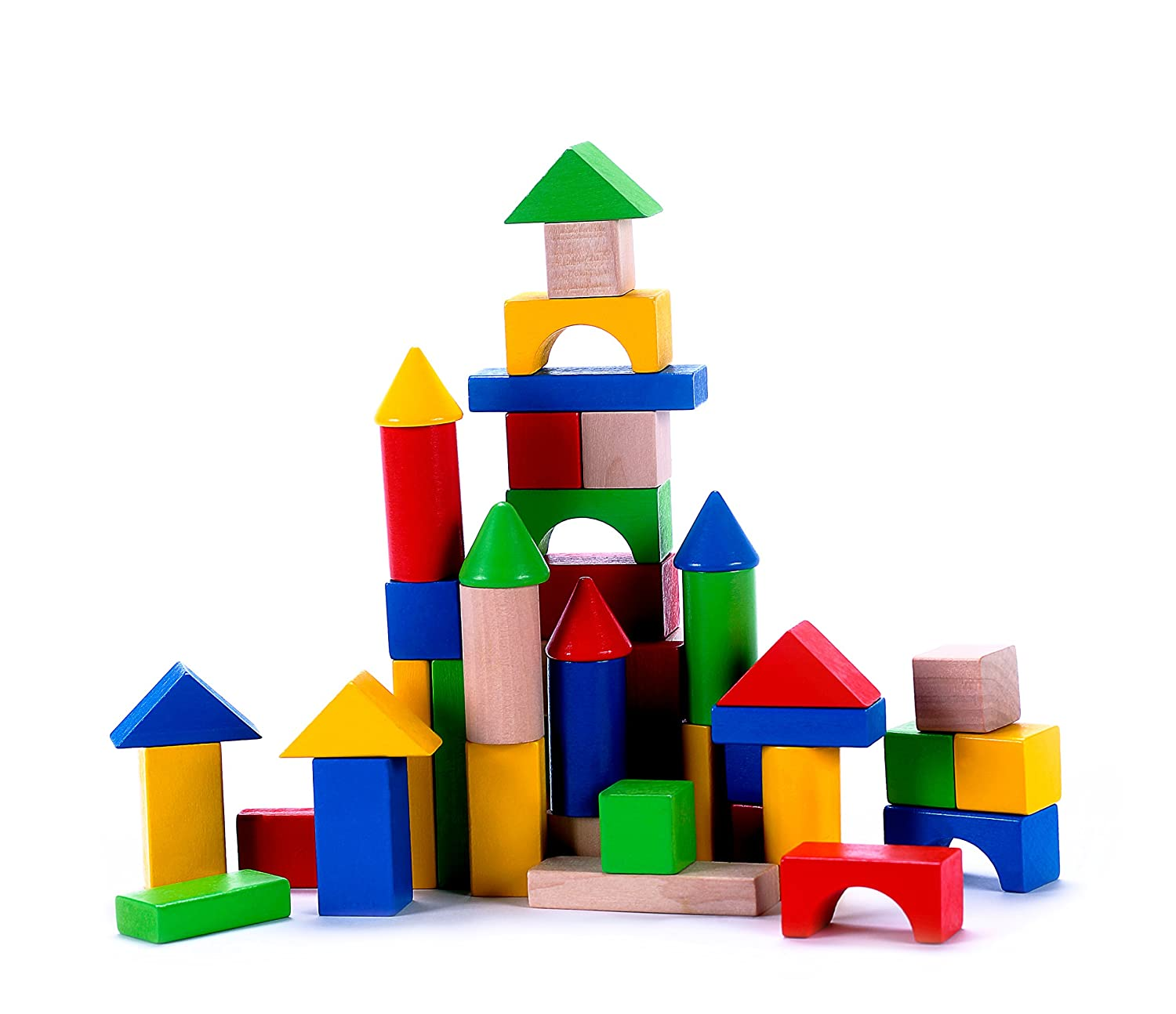 Amazon Classic Wooden Building Block Set 50 Pieces for