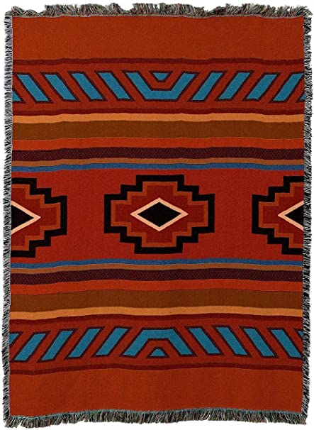 Pure Country Weavers - Chimayo Southwest Blanket | Woven Tapestry Camp  Throw with Fringe Cotton USA 72x54