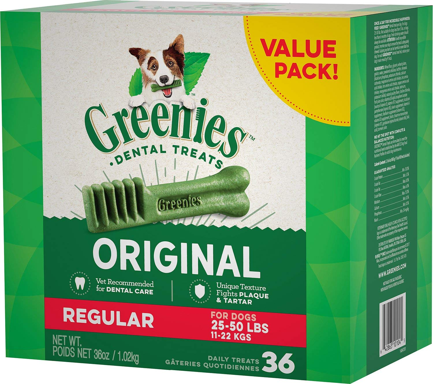 Greenies Dental Chews for Dogs, Regular, 36 Count (Pack of 5)
