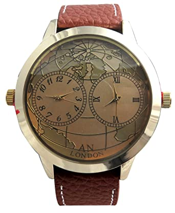 Two Time Zone World Map Dial Leather Strap Watch - Brown Leather ...