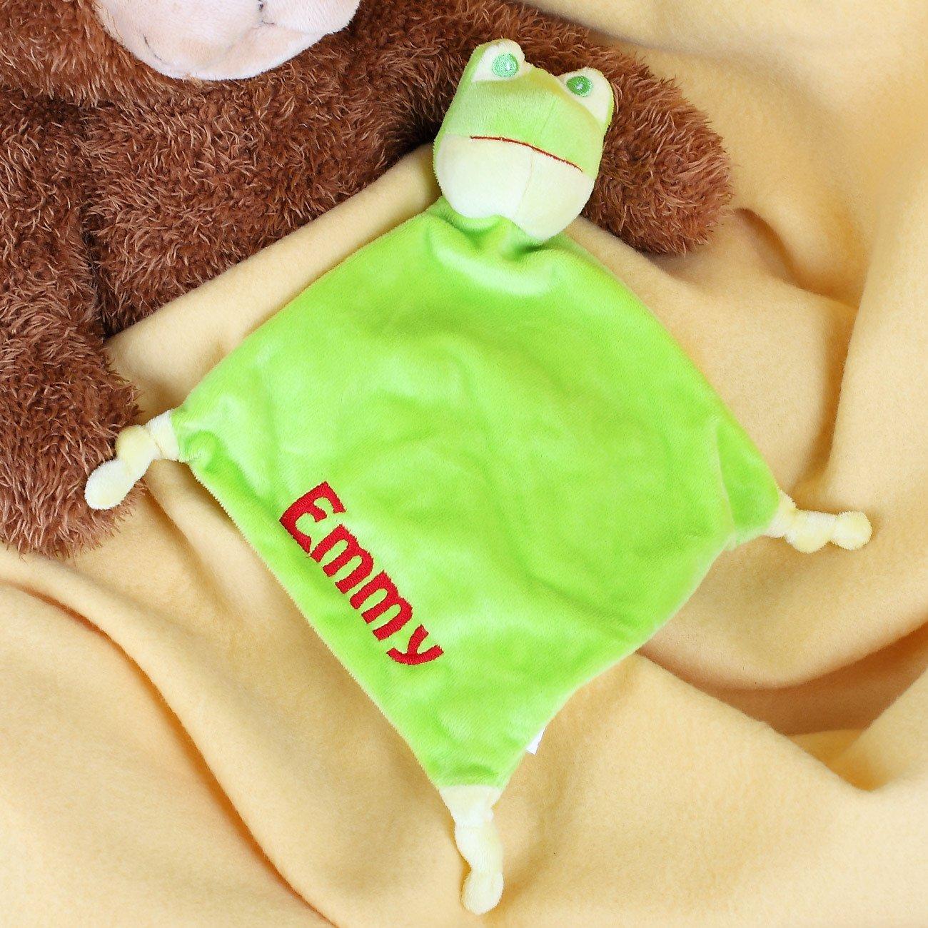 Striefchen/® Frosch Schnuffeltuch mit gratis Namen bestickt mit Geschenkverpackung