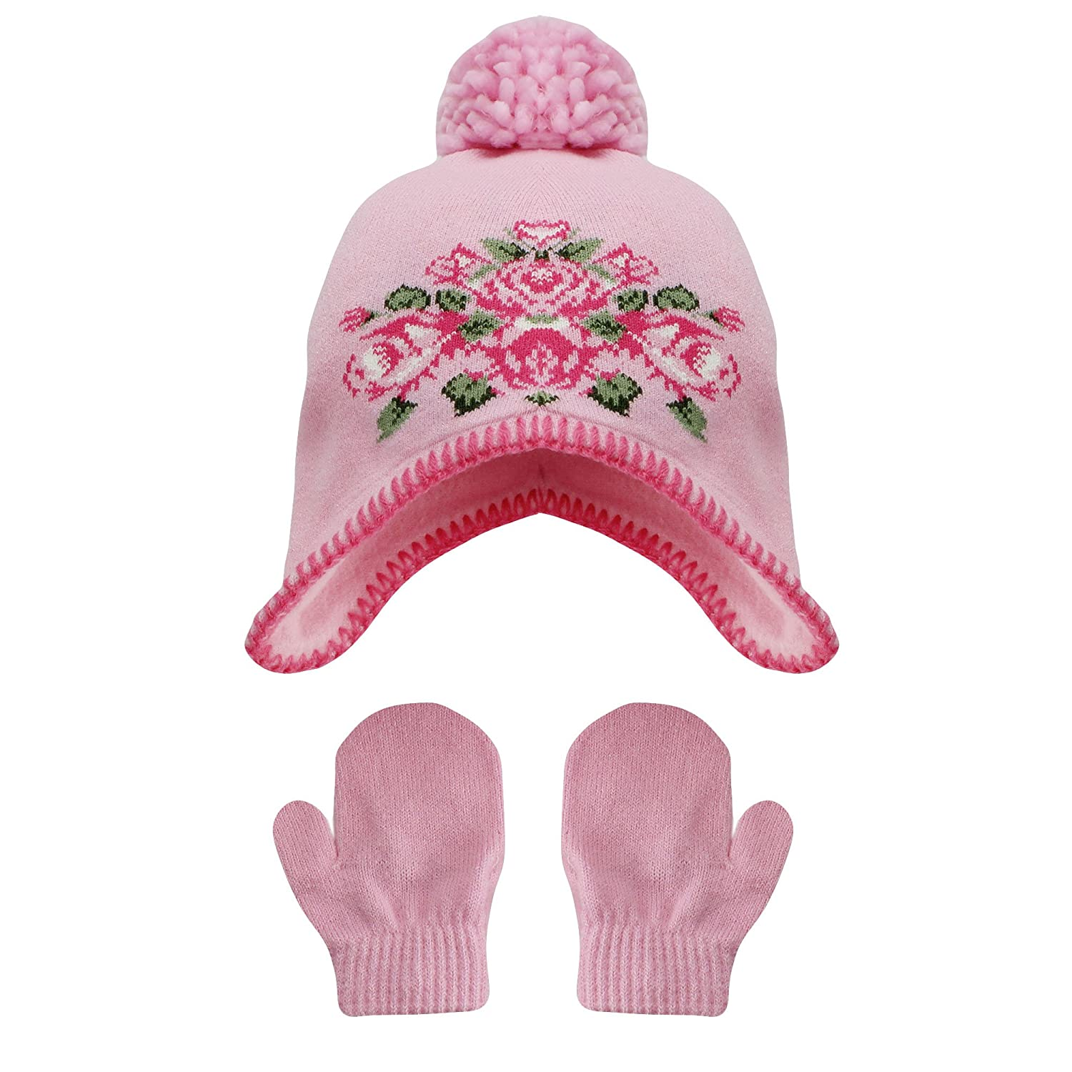 13e799ed66a Amazon.com  Little Me Girls Floral Pom Pom Winter Hat and Mitten Set Pink  Infant 12-24M  Baby