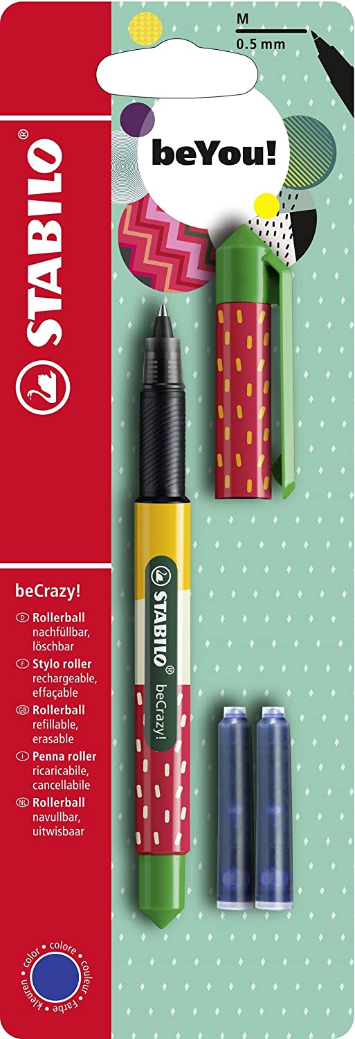 STABILO beCrazy! Rollerball Pen with 3 Blue Ink Cartridge - Strawberry STABILO International GmbH B-50411-5
