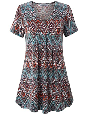 60s Style: How to Recreate the Outfits MOQIVGI Womens V Neck Printed Loose Fit Casual Blouse Top Tunic Shirt $26.99 AT vintagedancer.com