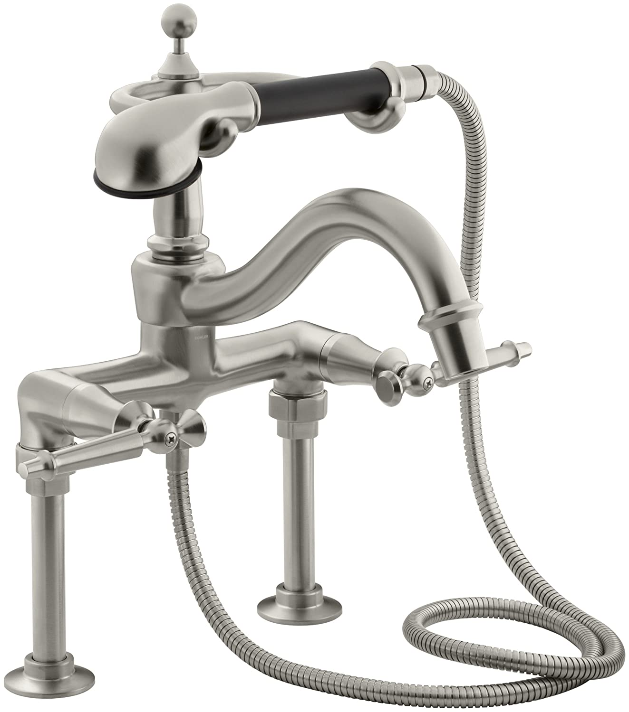 KOHLER K-110-4-BN Antique Bath Faucet, Vibrant Brushed Nickel ...