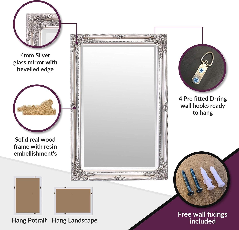 Stile barocco rococ/ò Specchio Select Vintage francese Finitura a mano Legno massello Specchio a parete grande Rhone Oro antico 60 cm x 90 cm