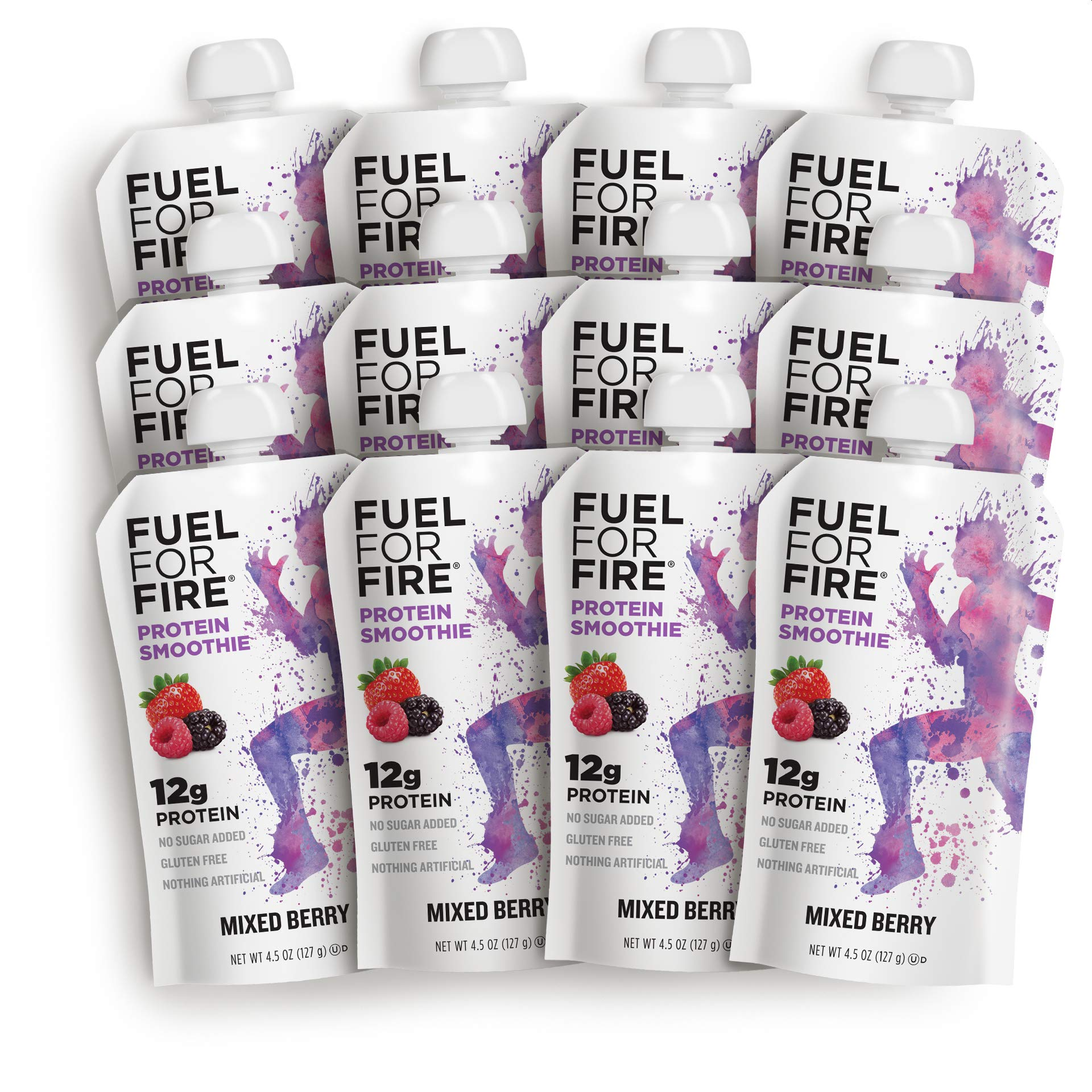Fuel For Fire - Mixed Berry (12 Pack) Fruit & Protein Smoothie Squeeze Pouch   Perfect for Workouts, Kids, Snacking - Gluten-Free, Soy-Free, Kosher (4.5 ounce pouches) by FUEL FOR FIRE